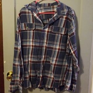 Large blue flannel top